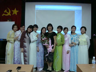 Ao Dai in Vietnamese college. Students with Aodai