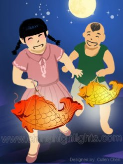 Carrying Carp-Shaped Lanterns