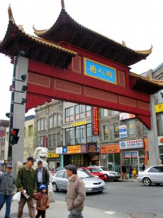 Chinatown Gate in the intersection of Boulevard Saint-Laurent and Boulevard René-Lévesque in Montreal.