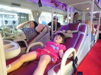 For Westerners, sleeper buses are merely comfortable if you're three, like the model in this picture.