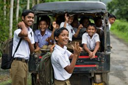 young ones on their way to school in Diglipur on the Andaman Islands.
