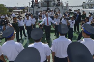 Secretary of Defense Ash Carter tours the Vietnam Coast Guard ship CSB-8003, in Hai Phong, Vietnam, May 31 2015. Carter is on an 11 tour to the Asia-Pacific to  generally meet with lover nations and affirm U.S. commitment to the region.