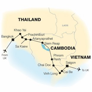 South East Asia Cycle Bangkok to Saigon Trip Map