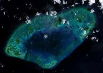 West London Reef is pictured in the South China Sea in 2015, inside handout photo provided by CSIS Asia Maritime Transparency Initiative/DigitalGlobe. REUTERS/CSIS Asia Maritime Transparency Initiative/DigitalGlobe/Handout via Reuters